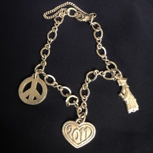 James Avery Bracelet with retired peace sign charm